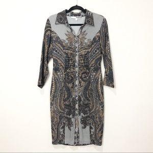 Tracy Reese Silk Blend  Crepe Shirt Sheath Dress